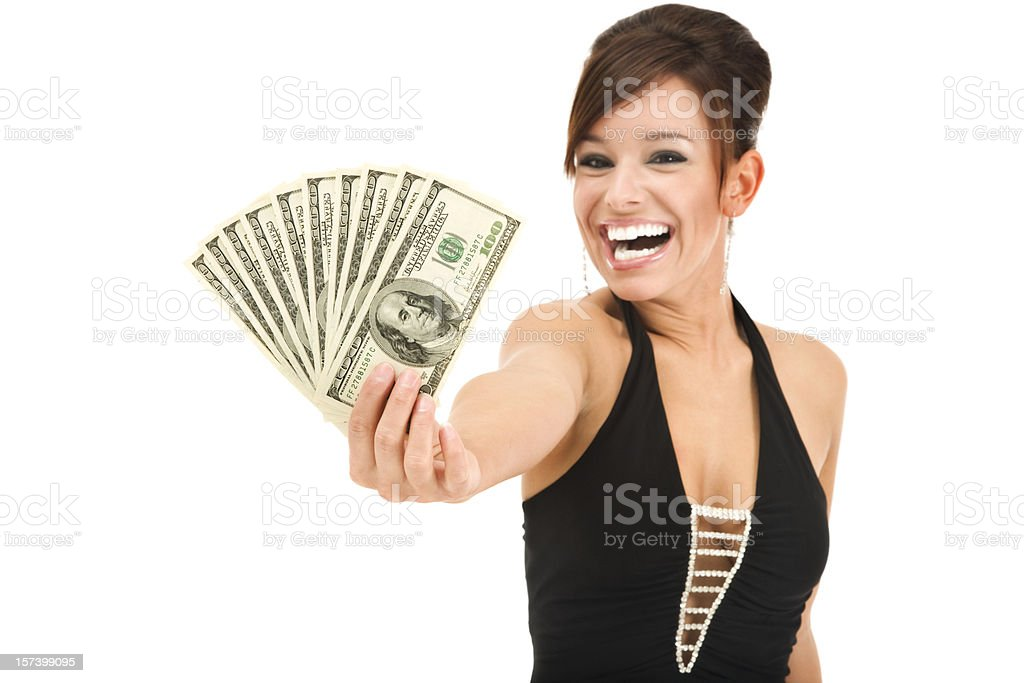 Glamorous Young Woman Holding Money royalty-free stock photo