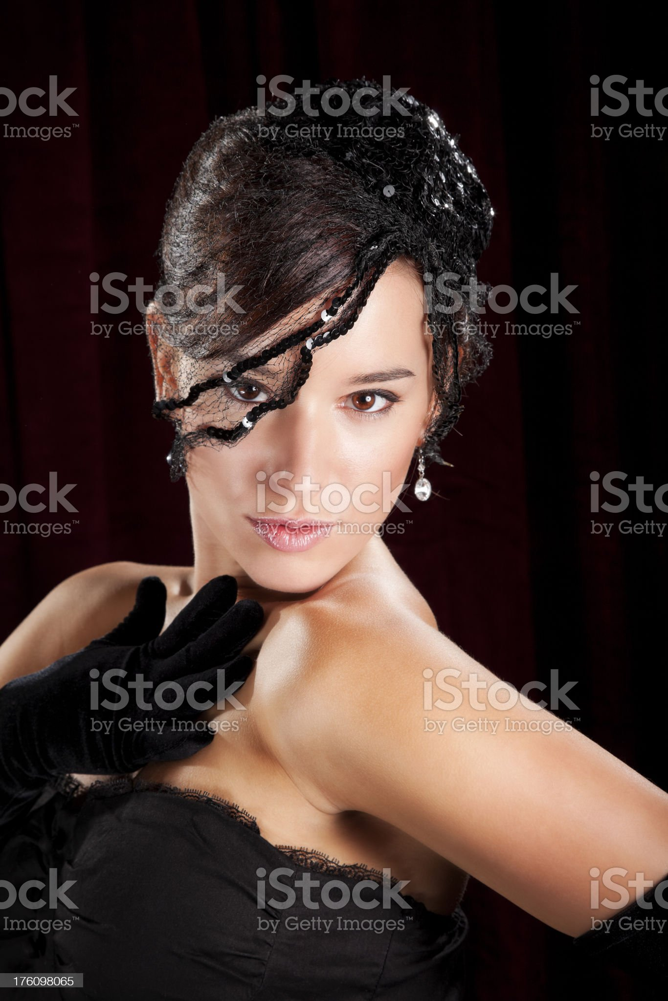 Glamorous Young Woman in Netted Hat royalty-free stock photo