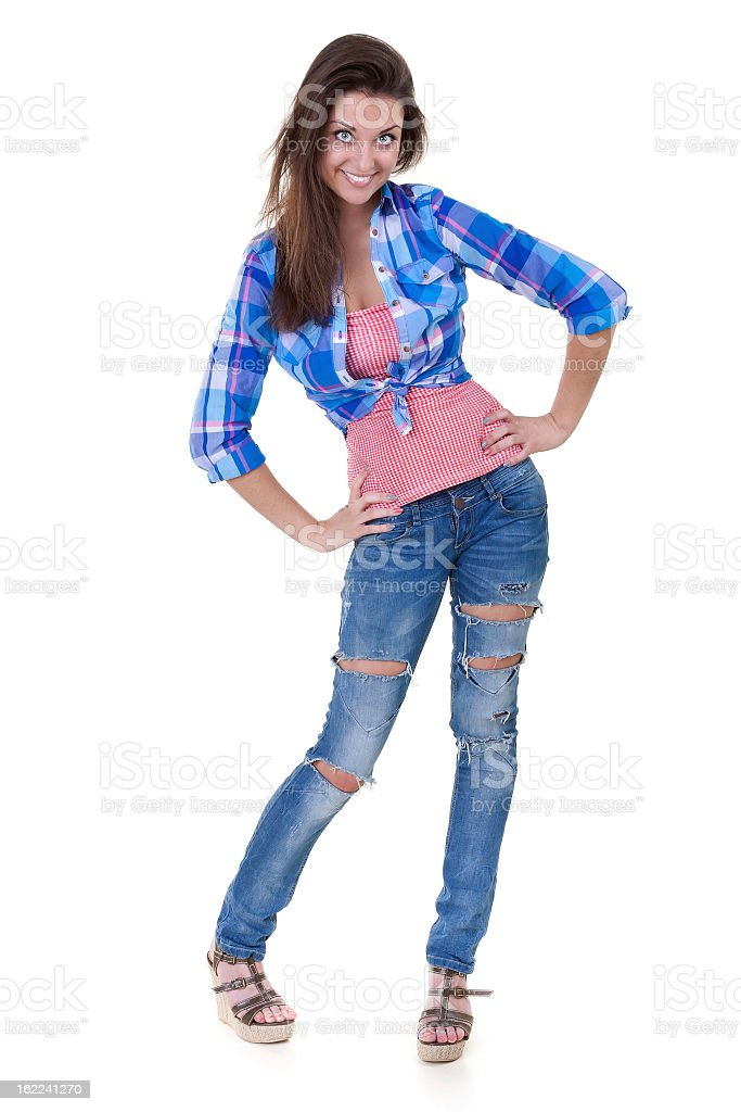 Glamorous young woman in shirt and jeans royalty-free stock photo