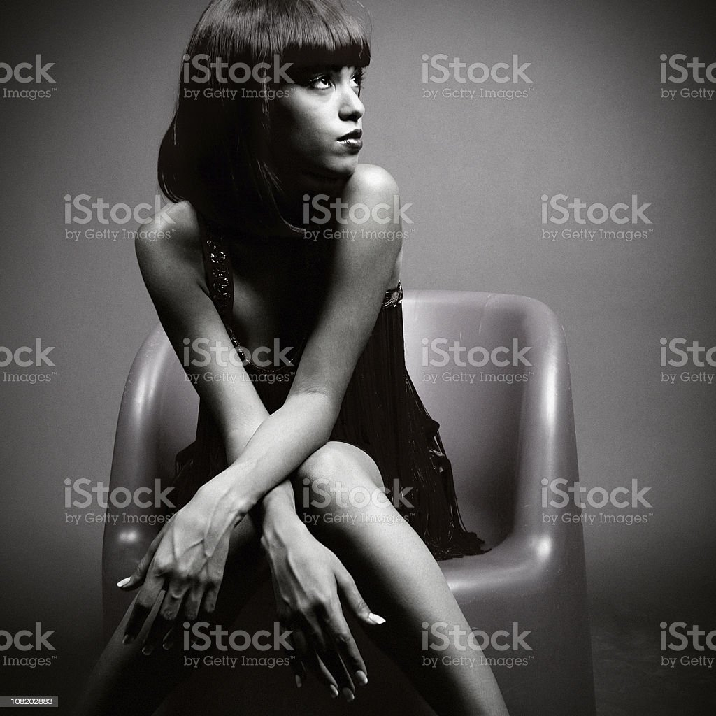 Glamorous Young Woman Posing, Black and White stock photo