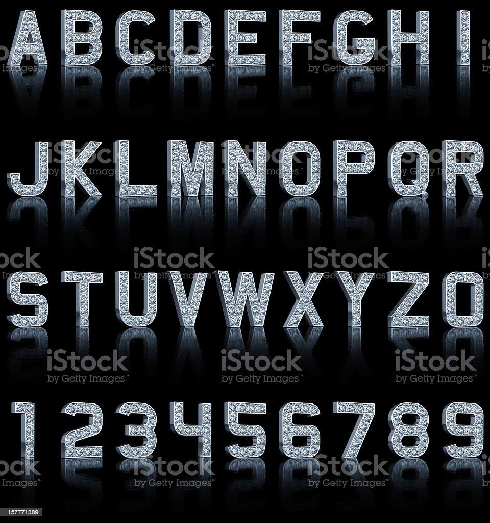 Glamour Alphabet On Black stock photo