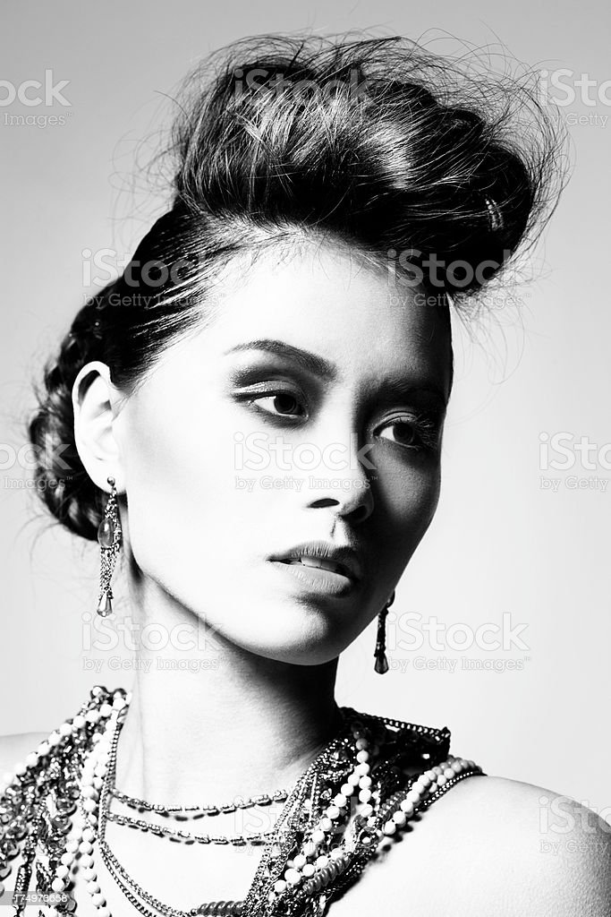 Glamour Beauty b/w royalty-free stock photo