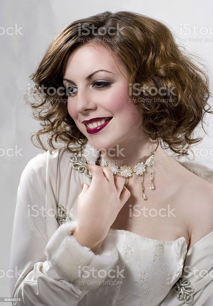 Glamour girl in white dress royalty-free stock photo