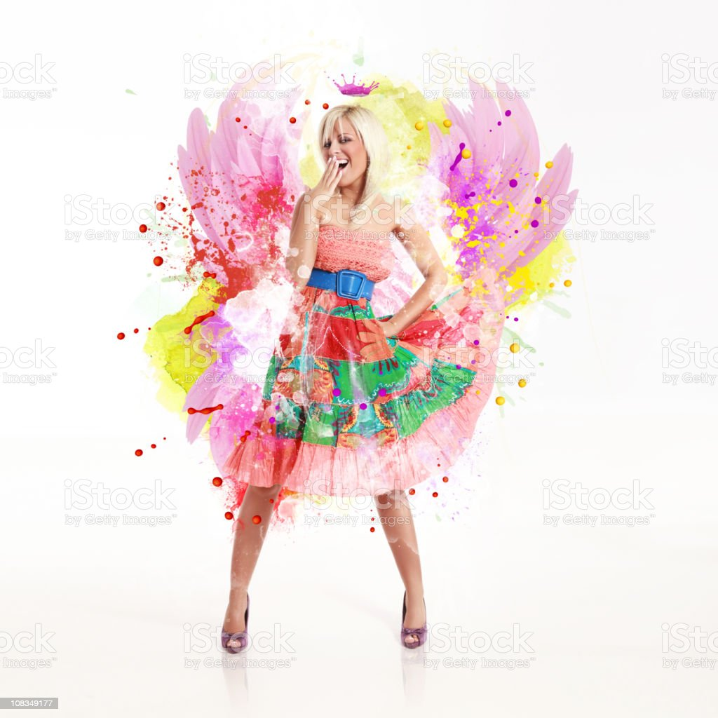 Glamour girl with colorful design arround her royalty-free stock photo