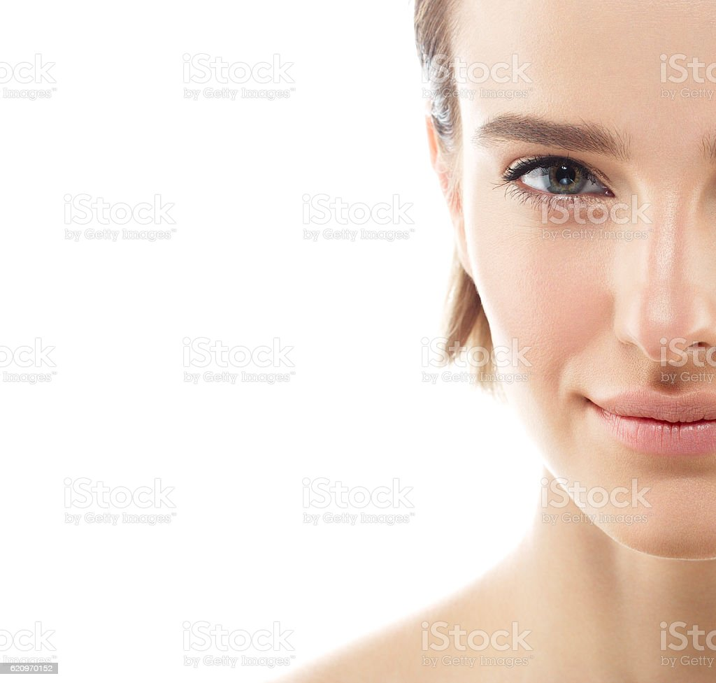 Glamour half-face portrait beautiful woman model with fresh daily makeup stock photo