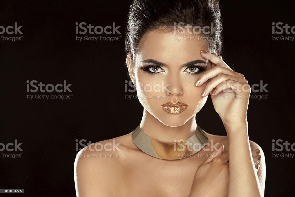 Glamour Lady. Fashion Beauty Girl Isolated on Black Background. royalty-free stock photo