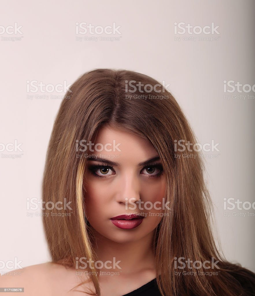 Glamour portrait of beautiful woman model with fresh daily makeu royalty-free stock photo