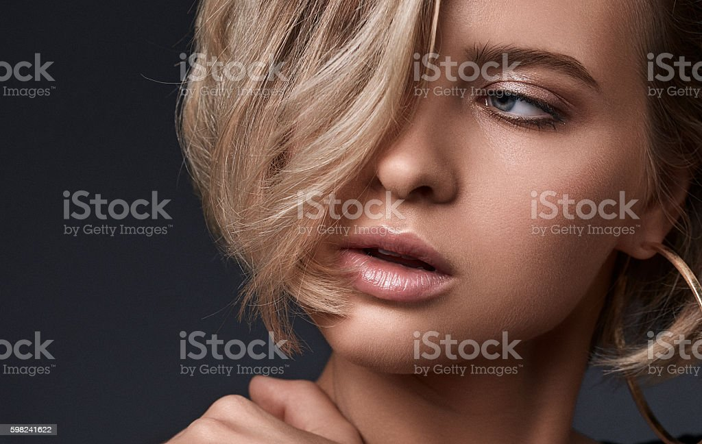 Glamour portrait of beauty girl with full lips. stock photo