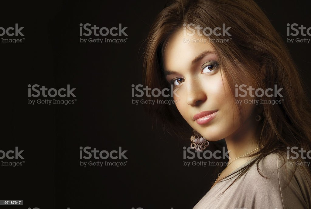 Glamour portrait of elegant sensual young woman stock photo