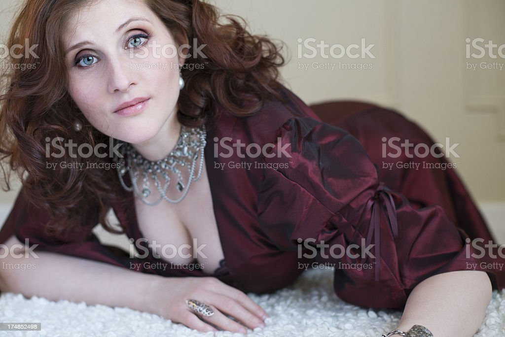 Glamour portrait of real curvy woman in her thirties. royalty-free stock photo