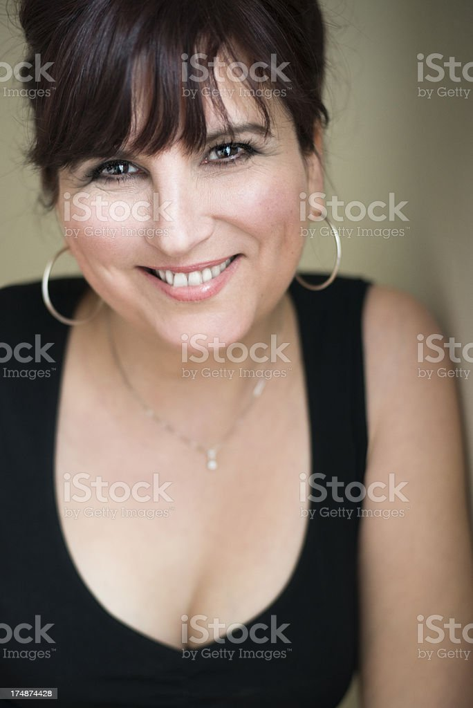 Glamour portrait of real woman in her forties. stock photo