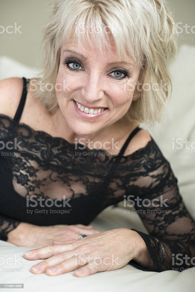 Glamour portrait of real woman in her sixties. royalty-free stock photo