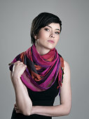 Glamour portrait of short hair beauty model with colorful neckerchief