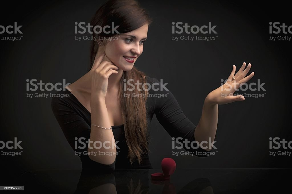 Glamour portrait of woman with engagement ring royalty-free stock photo