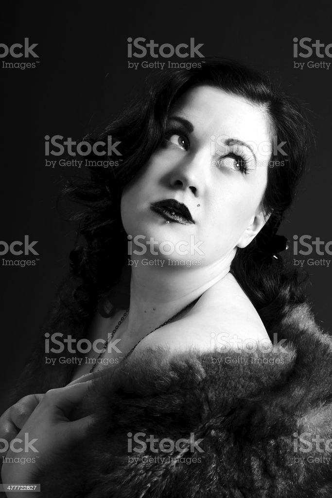 B&W glamour portriat inspired by 1940s movies. royalty-free stock photo