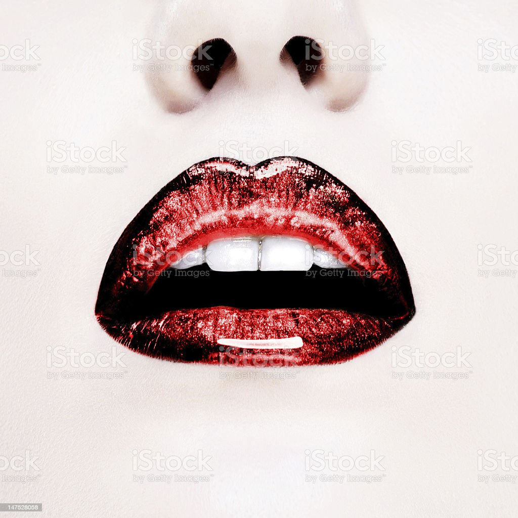 Glamour Red gloss lips with sensuality gesture. stock photo