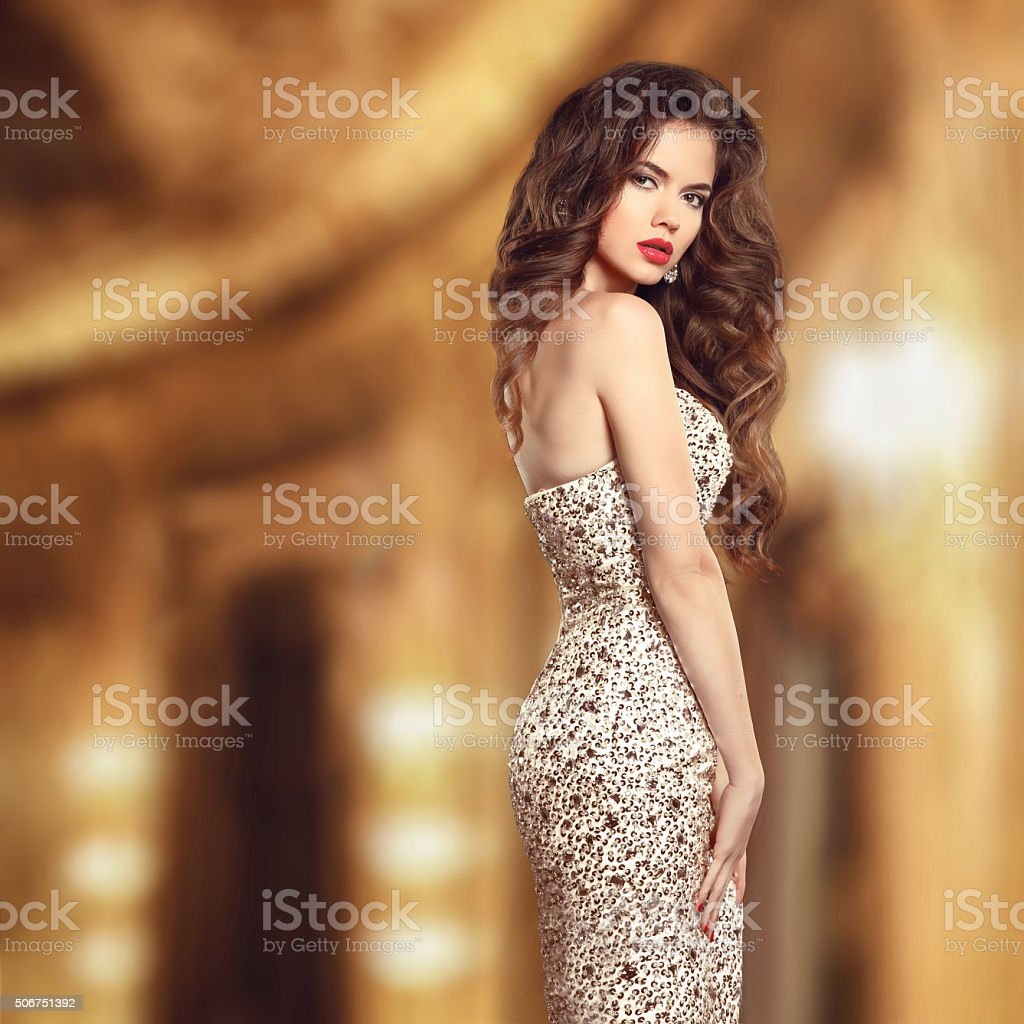Glamour style beauty portrait. Beautiful young woman in elegant stock photo