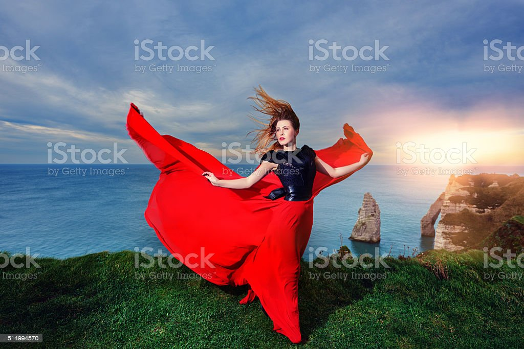 glamour woman in nature stock photo