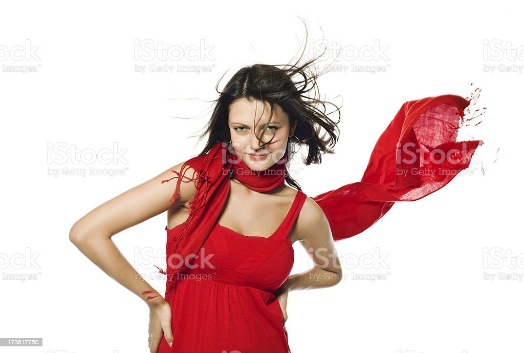 Glamour woman in red dress royalty-free stock photo