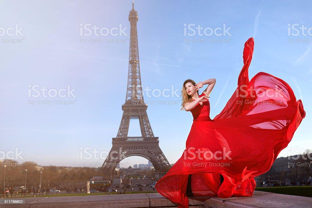 glamour woman shooting in Paris stock photo