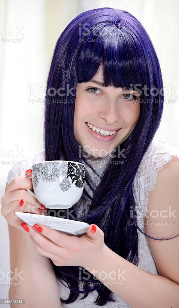 glamour woman with coffe royalty-free stock photo