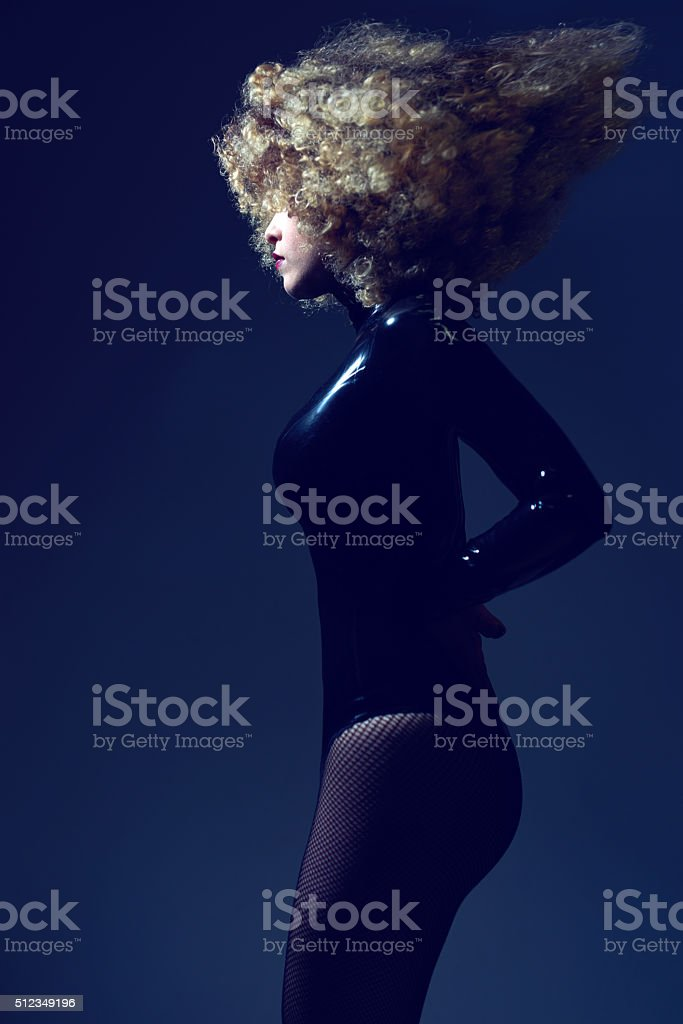 glamour woman with curly hair stock photo