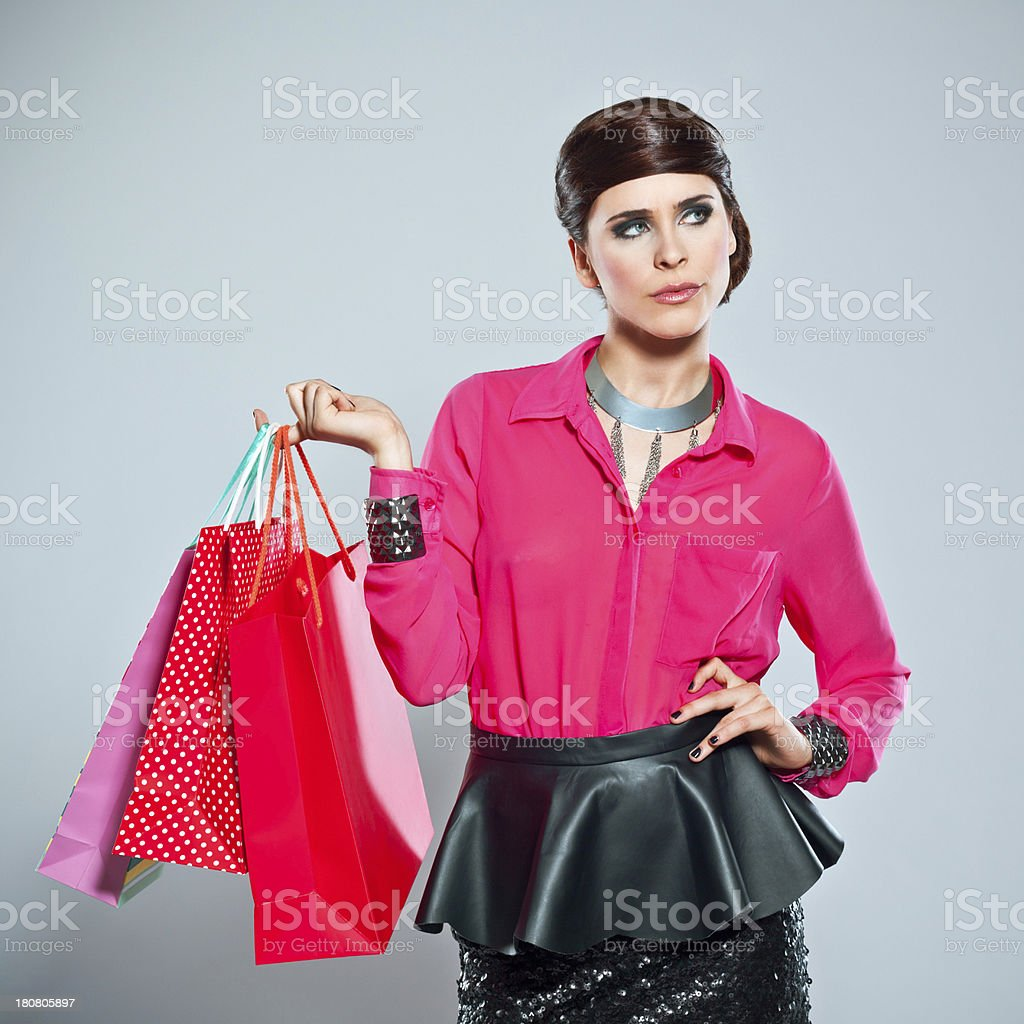 Glamour woman with shopping bags royalty-free stock photo