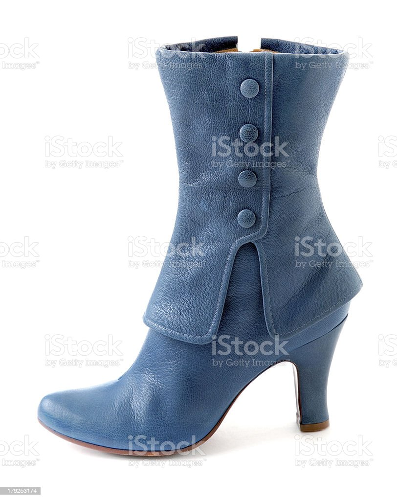 Glamourous blue leather high heel boot stock photo