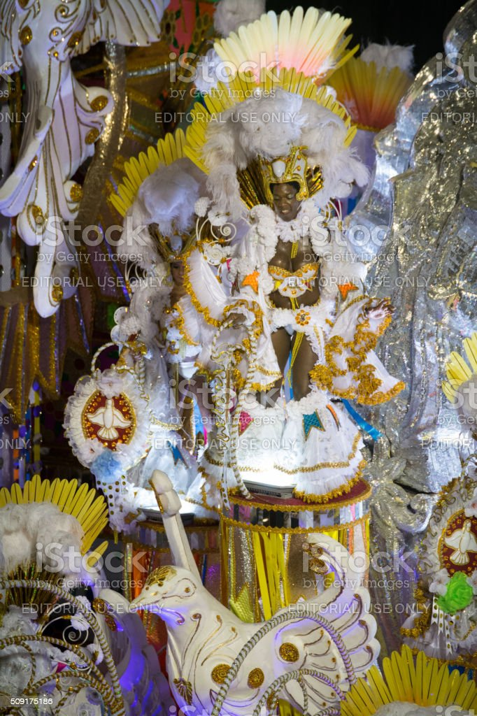 Glamourous floatee during carnival stock photo