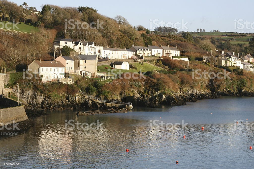 Glandore - South West Ireland, houses above harbour stock photo