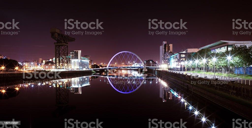 Glasgow Arc 'Squinty' Bridge Panorama by Night stock photo