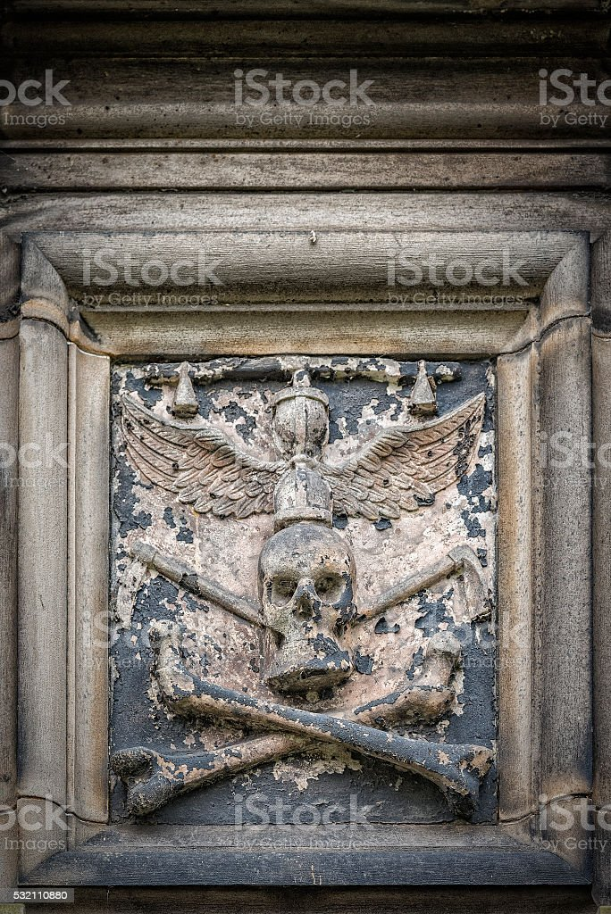 Glasgow Cathedral Stone Skull stock photo