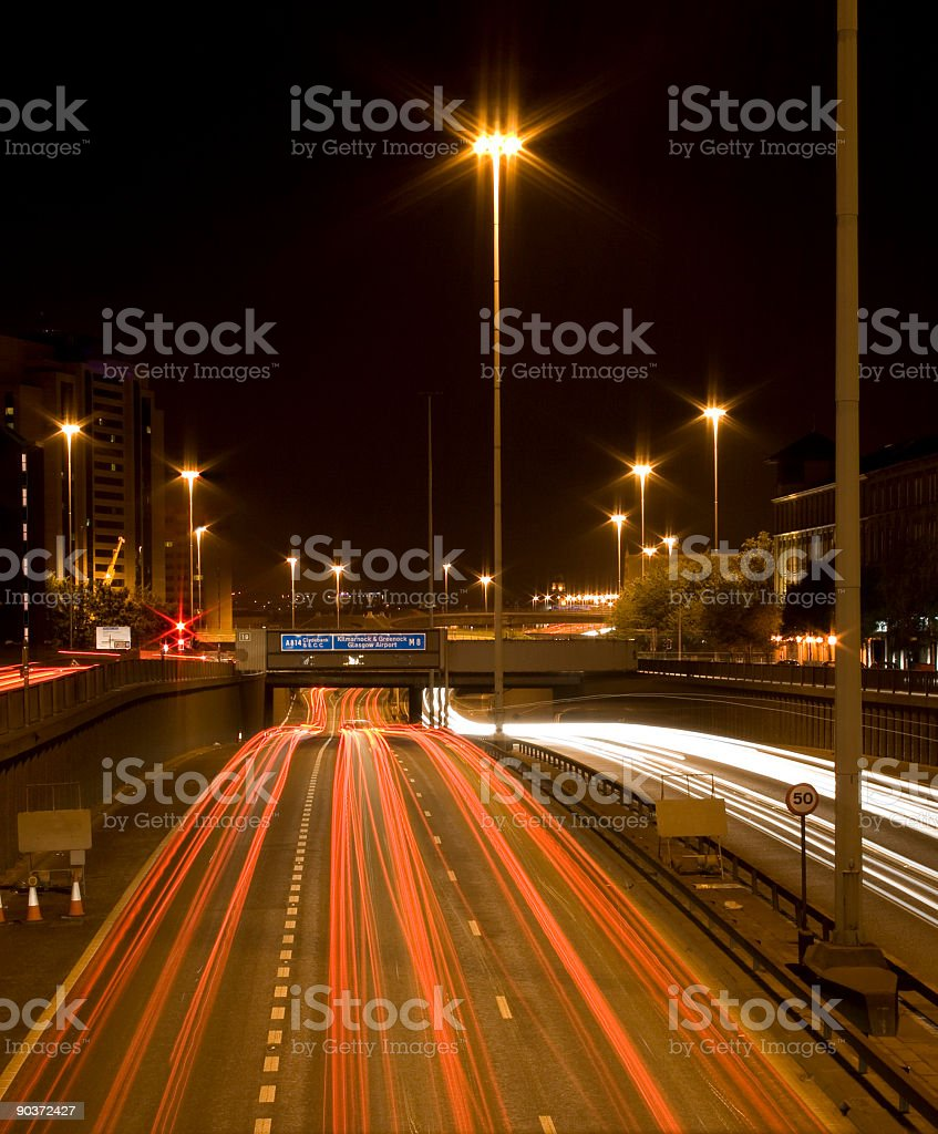 Glasgow City Centre at night showing M8 Motorway Traffic. stock photo