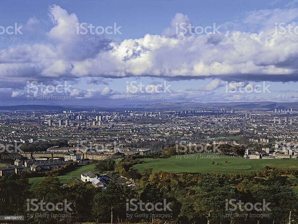 Glasgow City from Cathkin Braes Strathclyde Scotland stock photo