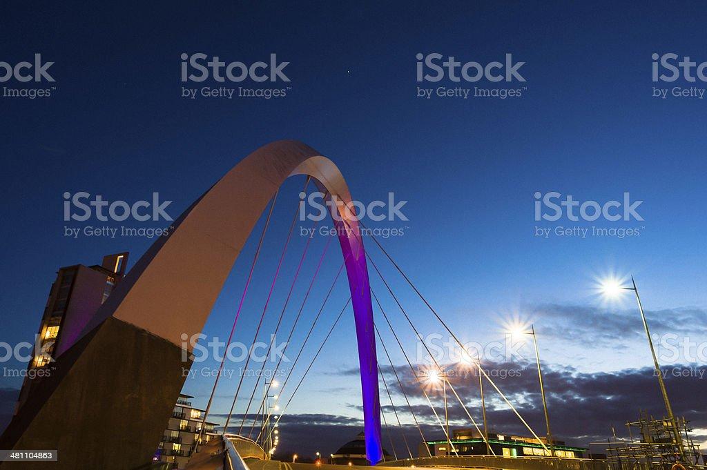 Glasgow: Clyde Arc Bridge at dusk stock photo