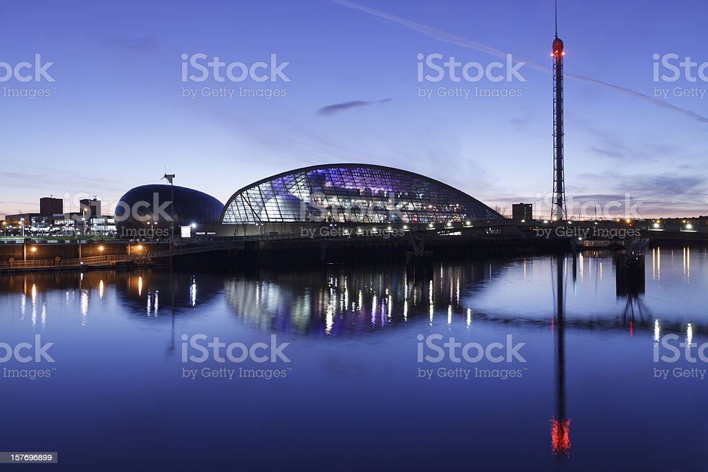 Glasgow Science Center along river Clyde stock photo