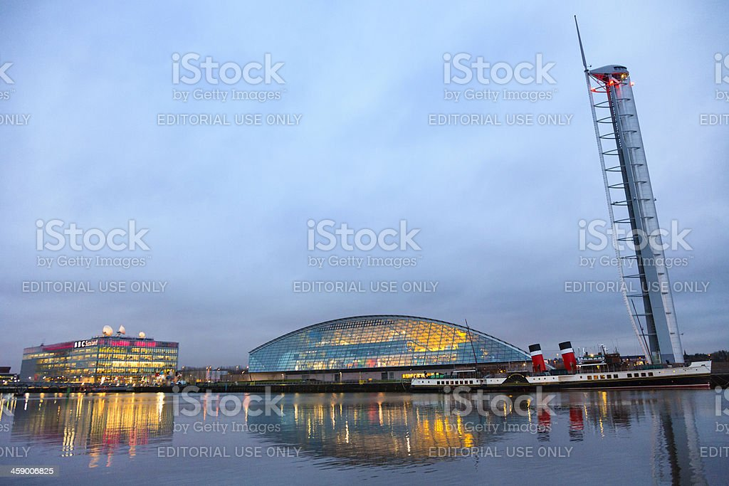 Glasgow Science Centre and Paddle Steamer stock photo