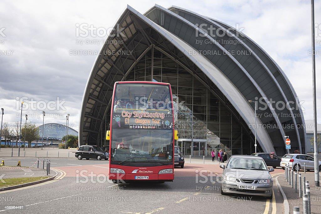 Glasgow Tour Bus at the SECC stock photo