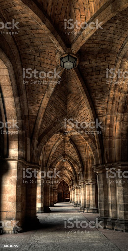 Glasgow university cloisters stock photo
