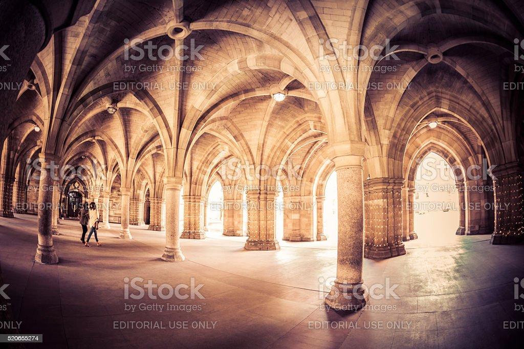 Glasgow University Cloisters stock photo