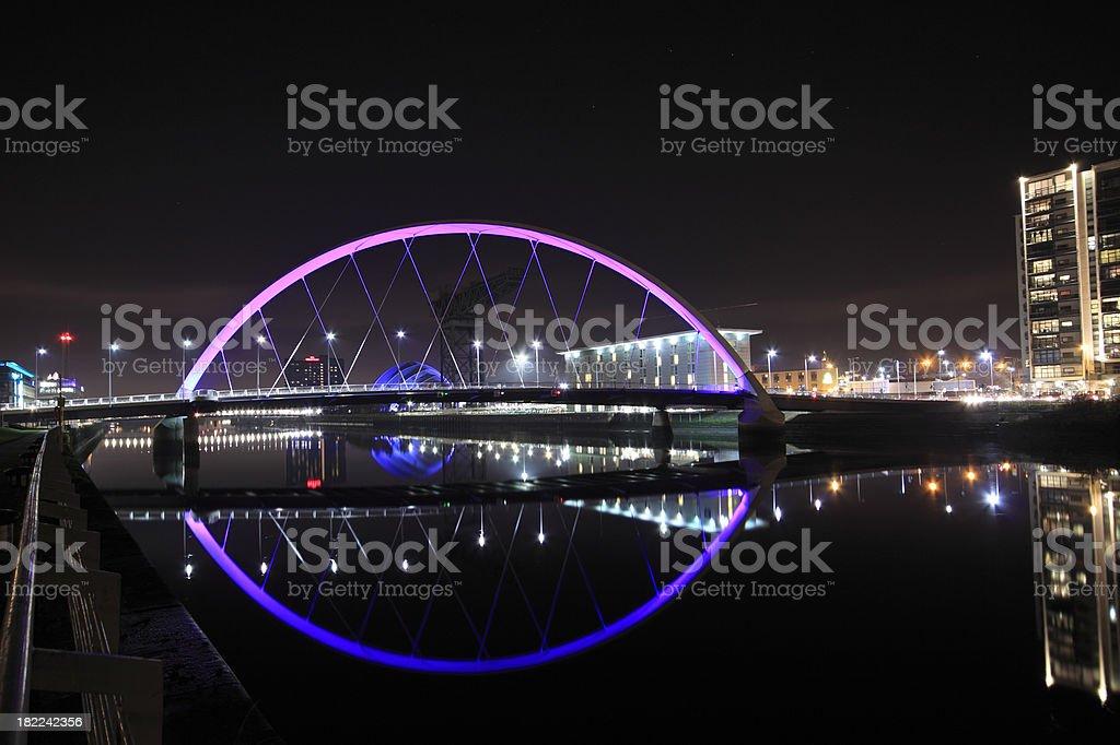 Glasgow's Squinty Bridge illuminated at Night. royalty-free stock photo