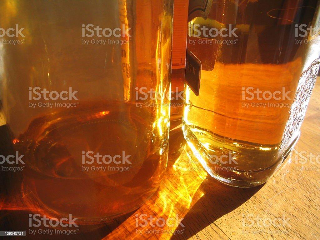 Glass Alcohol Bottles royalty-free stock photo