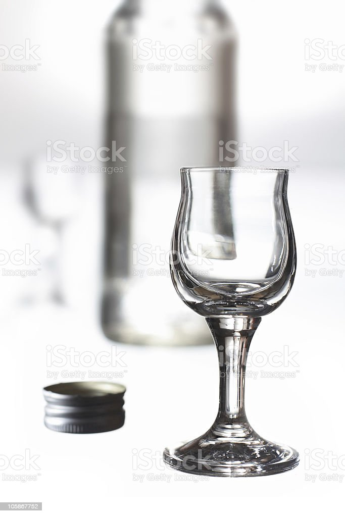 glass and a bottle stock photo