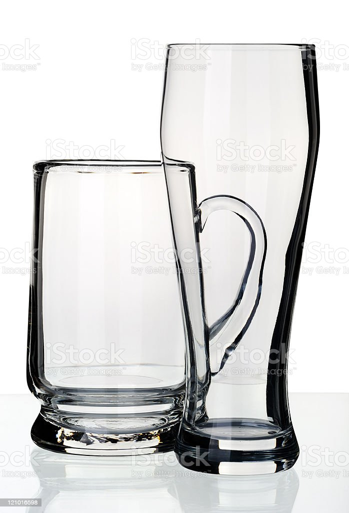 Glass and a mug for beer, isolated royalty-free stock photo