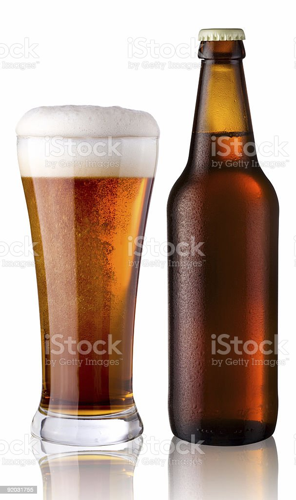 glass and bottle of beer stock photo