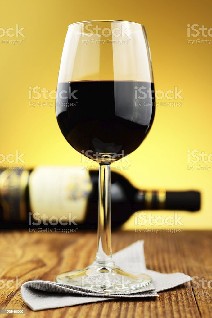 Glass and bottle of fine italian red wine royalty-free stock photo