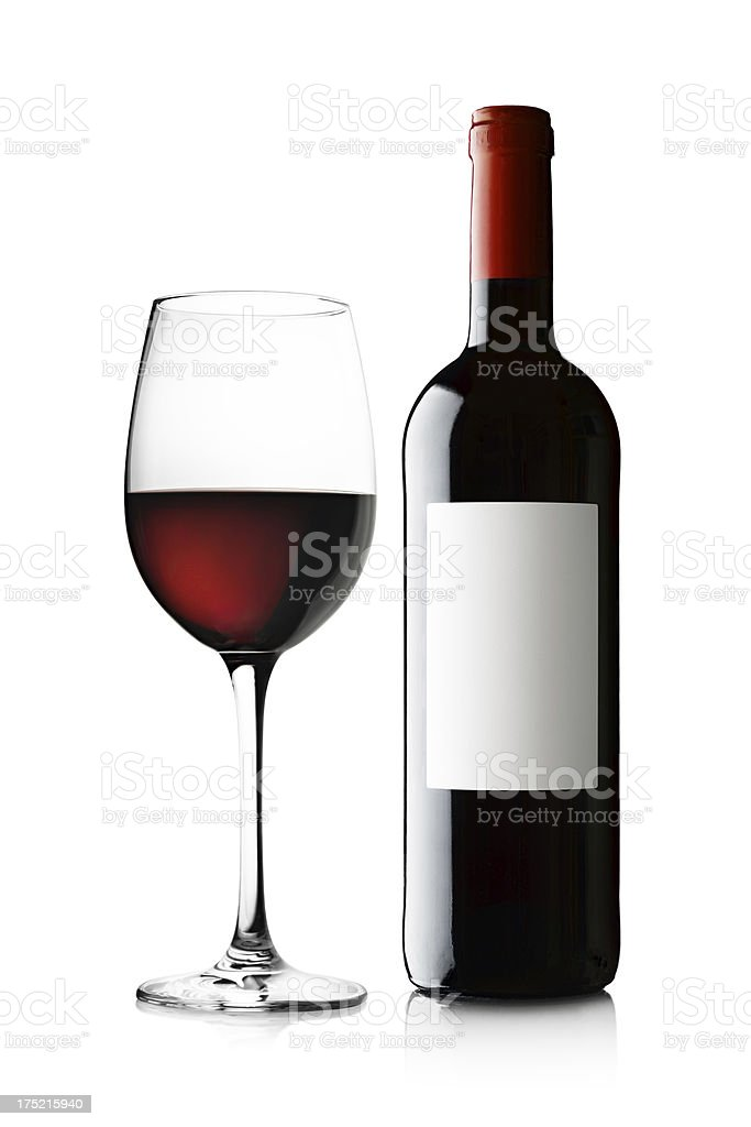 Glass and Bottle of Red Wine on White stock photo