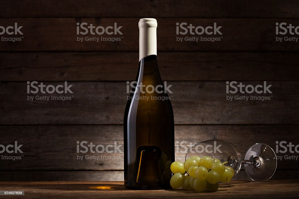 Glass and grape stock photo