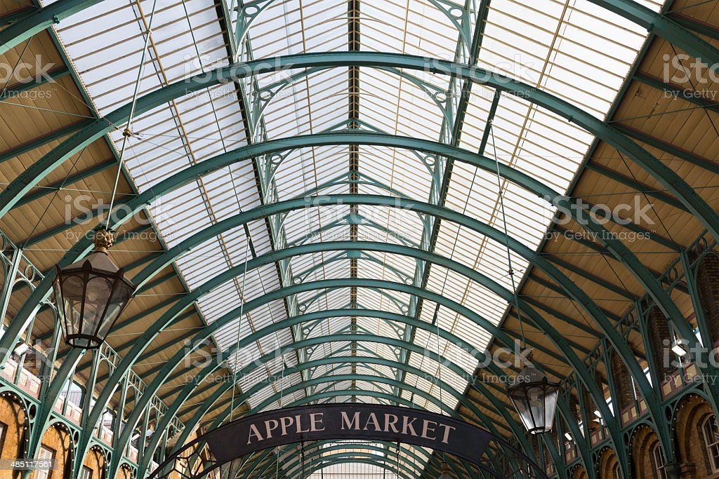 Glass and iron ceiling in Covent Garden Market, London stock photo