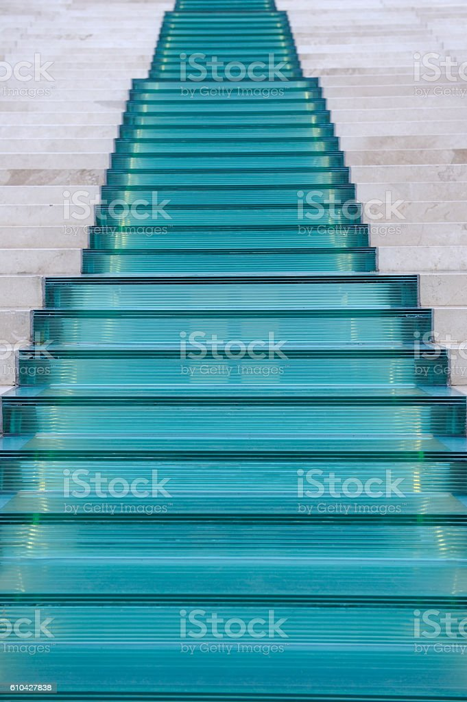 Glass and Marble Staircase stock photo